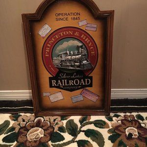 """Framed Picture Railroad Co. Embossed 23""""X 16"""""""